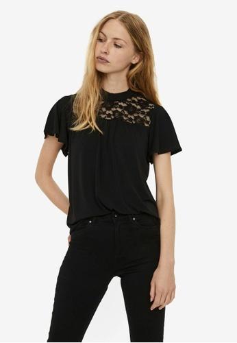 Vero Moda black Alberta Short Sleeve High-Neck Lace Top 2D0E2AA4E51960GS_1
