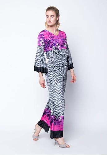 Devain Kapoor grey Flames in Motion - Silk Jumpsuit with Swarovski Crystal Embellishments 012EDAAF73F2DBGS_1