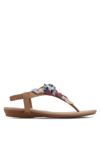 Mimosa beige Floral and Sequin Patch Sandals A37B6SHDAACD7AGS_1