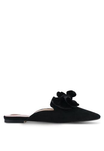 Velvet black Bow Slip On Mules 411D0SH4BA3283GS_1
