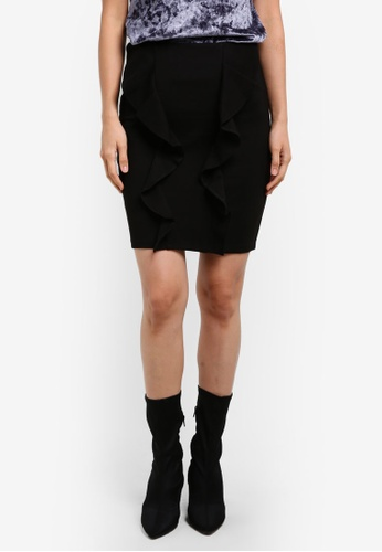 Dorothy Perkins black Black Double Ruffle Mini Skirt DO816AA0S7B0MY_1