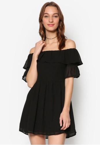 Tarianzalora 衣服評價a 荷葉飾露肩薄紗短袖連身裙, 服飾, 洋裝