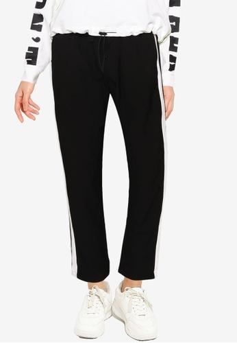 LC Waikiki 黑色 Striped Viscose Carrot Trousers C9F33AAEBBD349GS_1