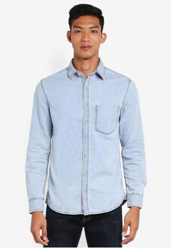 MANGO Man blue Light Wash Denim Overshirt ACCDCAA294C9A6GS_1