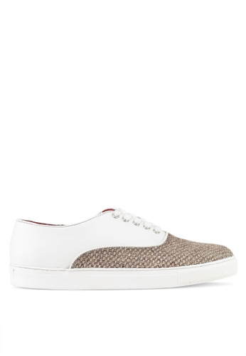 Acuto white Mixed Material Sneakers AC283SH0SL7PMY_1