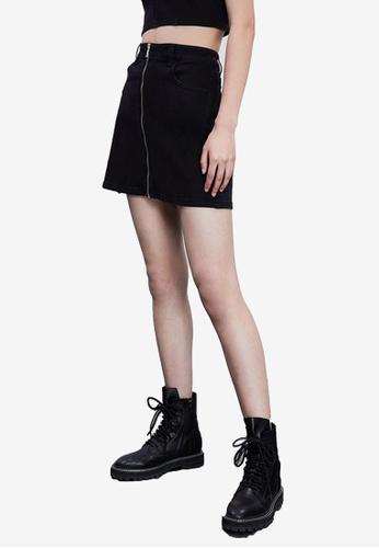 URBAN REVIVO black Casual Denim Skirt 12609AA999DC56GS_1