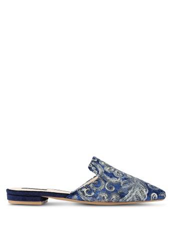ZALORA 海軍藍色 Sequin Embroidered 平底鞋 733A2SHF3F6D86GS_1