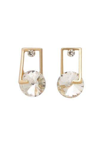 Jaysa Collection gold Matt Gold Stud Earrings With Austrian Clear Crystals JA875AC0GMB2SG_1