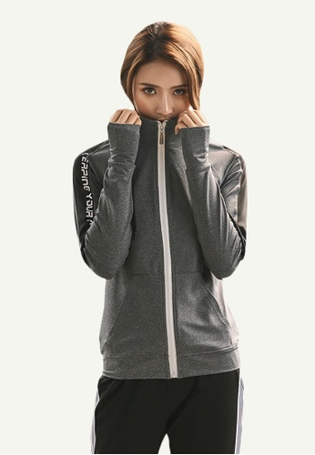 B-Code grey ZYG5078-Lady Quick Drying Running Fitness Yoga Sports Bra, Hoodie and Leggings Three Pieces Set-Grey 846D5AA8468564GS_1