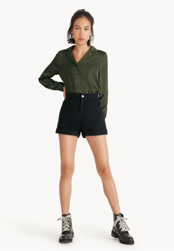Pomelo black High Rise Cuffed Shorts  - Black 6998DAAD9DFF79GS_1