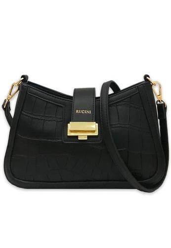RUCINI black Rucini Textured Leather Satchel Black 2515AAC72DC7EFGS_1