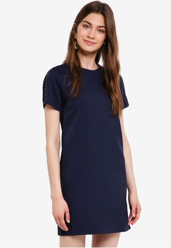 Something Borrowed navy Cut Out Detail Shift Dress A655DAAB917D52GS_1