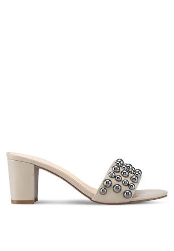 Something Borrowed beige Ball Studded Heels 87A93SHC1F6983GS_1