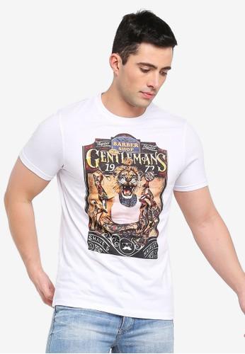 Brave Soul white Lion T-Shirt with Photographic Burnout Chest Print A1A08AAF2123D7GS_1