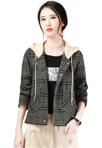A-IN GIRLS multi Fashion Hooded Plaid Warm Jacket 719C5AA2C12B46GS_1