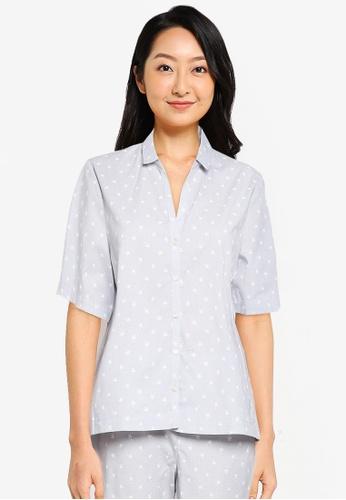 GAP grey Poplin Short Sleeve Top E4F5CAAB213954GS_1