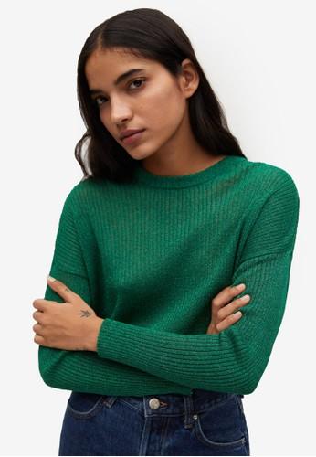 Mango green Ribbed Metallic Sweater 3A82FAA9D932FDGS_1