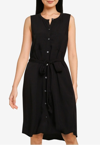 GAP black Sleeveless Shirtdress C4CBDAA9A8BEE9GS_1