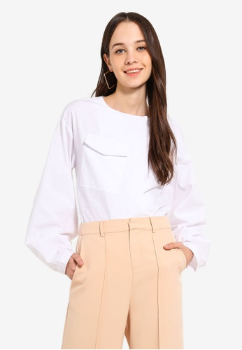 BYSI white Puff Sleeve Oversized Top 16B3FAAE2DA87AGS_1