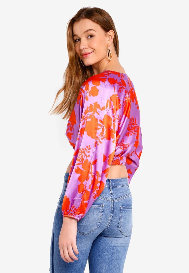 Print Top Sleeves Crop Balloon Island Purple River IwSqPYxttE