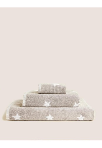 MARKS & SPENCER grey M&S Pure Cotton Stars Bath Towel E156AHLFBDE4D2GS_1