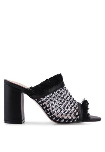Public Desire 黑色 and 白色 抽鬚編織粗跟穆勒鞋 F1BAESH7AF2B1DGS_1