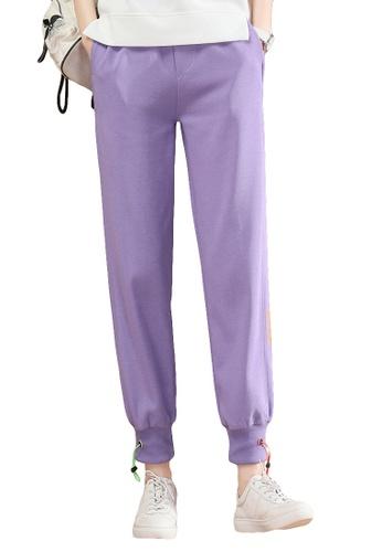 A-IN GIRLS purple Elastic Waist Casual Trousers BE00FAA5BA105FGS_1