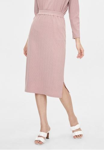 Pomelo pink Elastic Waist Side Slits Skirt - Pink D940BAA6FFE51FGS_1