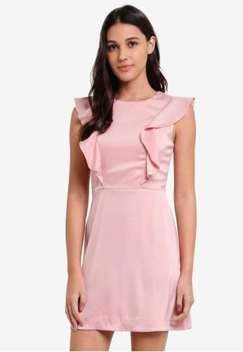Something Borrowed pink Ruffled Shoulder Dress 925B1AAA94C704GS_1