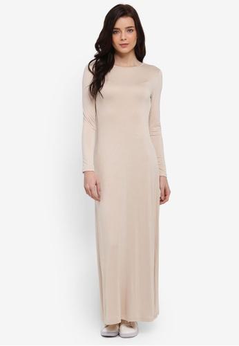 Zalia beige Long Sleeve Basic Dress B0BC6AA6116290GS_1