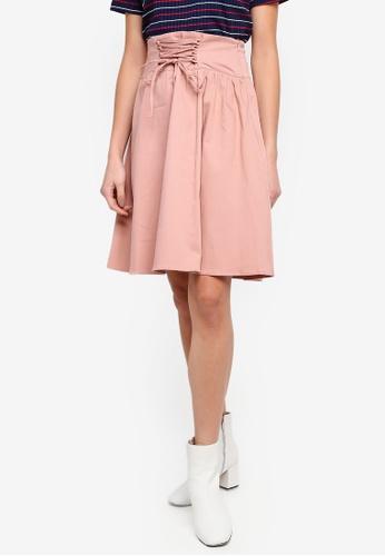 LC Waikiki 粉紅色 前綁帶裝飾裙 C69DDAA25DCBACGS_1