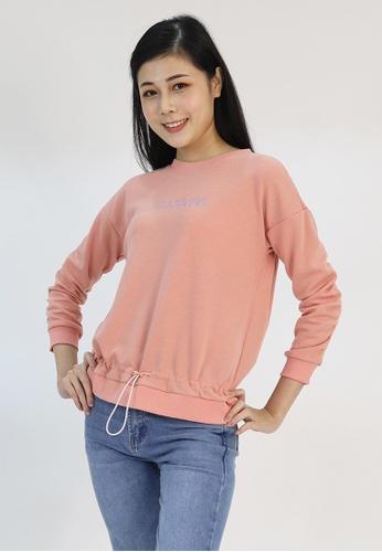 Cheetah pink Cheetah Ladies Long Sleeve Drawstring Sweatshirt - CL-65388 580C4AA4782657GS_1