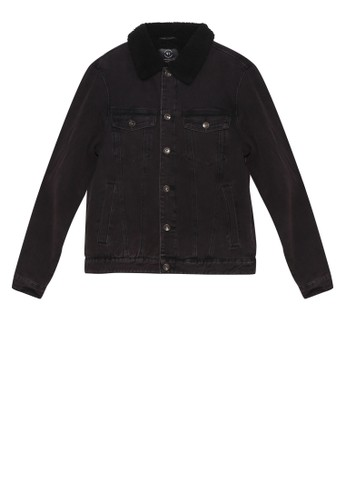 Cotton On black Borg Denim Jacket A469AAAEFFB2A5GS_1