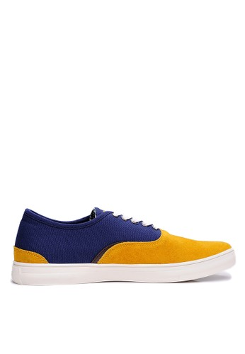 esprit outlet 桃園英倫雅緻。細絨牛皮。繽紛格紋休閒鞋-04408-黃藍, 鞋, 休閒鞋