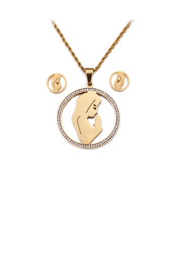 Glamorousky white Fashion and Elegant Plated Gold Mother Geometric Round 316L Stainless Steel Necklace and Stud Earring Set with Cubic Zirconia 98D8FAC29C56C5GS_1