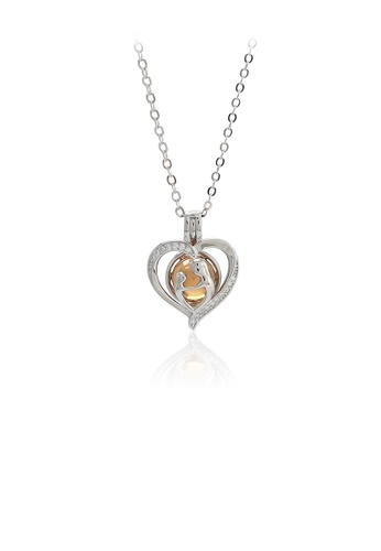 Glamorousky gold 925 Sterling Silver Simple Romantic Hollow Heart-shaped Champagne Imitation Pearl Pendant with Cubic Zirconia and Necklace 8ADE7AC3A1781AGS_1