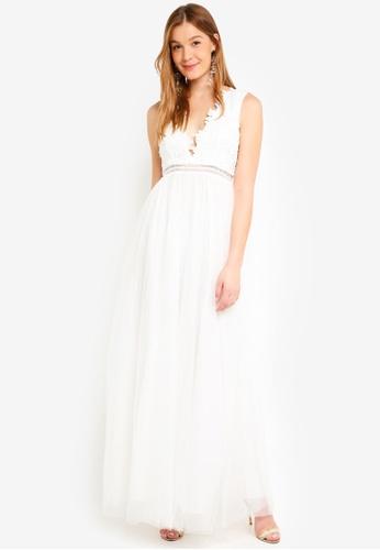 True Decadence white V Neck Maxi Dress With Mesh Skirt 5BACFAA22905C6GS_1