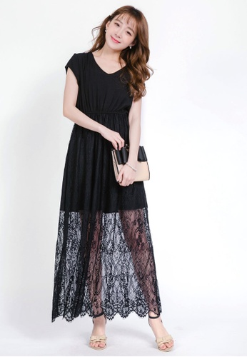 YOCO black Maxi Dress with Lace Skirt FB51AAAC35DE4AGS_1