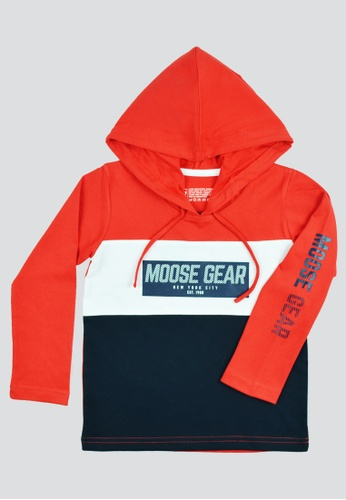 Moose Gear black and red T-shirt Longsleeves With Hood With Body Combi And Print 40ABCKA4F6CEE6GS_1