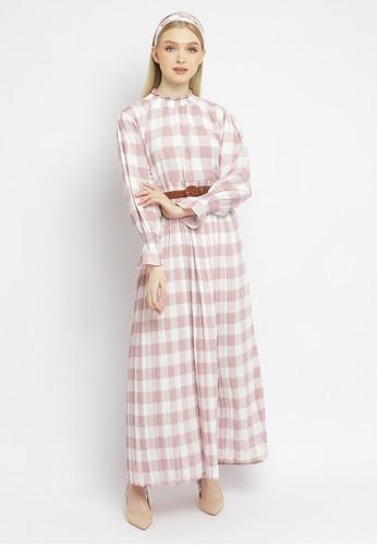 Just Out pink Hameeda Checkered Maxi Dress 2A343AA508D157GS_1