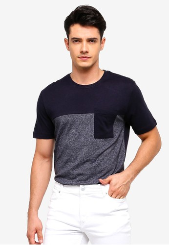 Mango Man blue and navy Pocket Contrast-Bodice T-Shirt 7C7FFAA901EE75GS_1