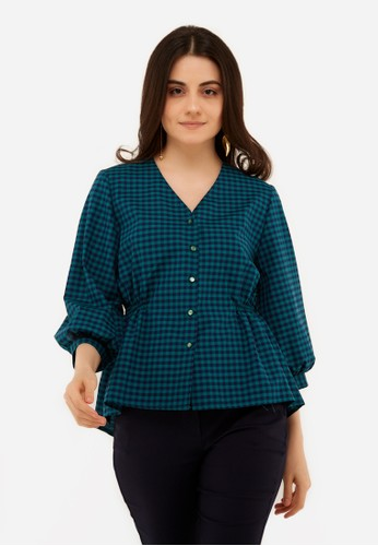 L'more green Rubber Curse Stitching Blouse AE298AAA5CAB11GS_1