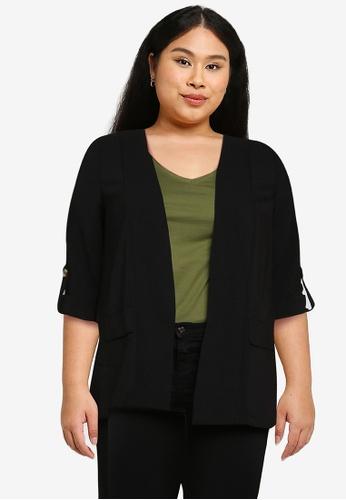 Only CARMAKOMA black Plus Size Jackie 3/4 Sleeves Coatigan 1D484AAF1C169DGS_1