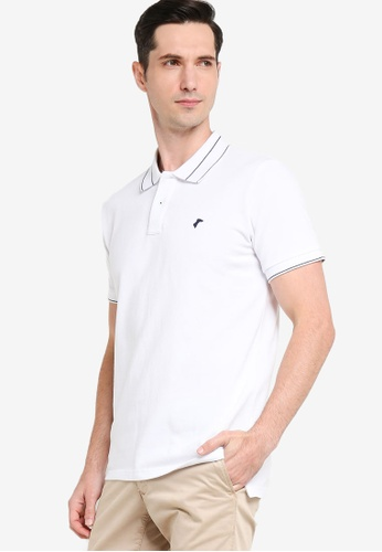 Sacoor Brothers white Men's Slim Fit Sports Piqué Polo 64697AA8553401GS_1