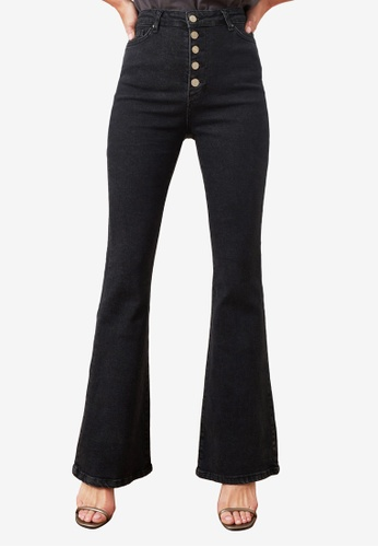 Trendyol black Button Front High Waist Flare Jeans 50B02AA020B051GS_1