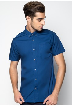 Basic Solid Shortsleeved Shirt with Tonal Owl Embro