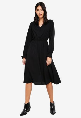 ZALORA black Button Detail Long Sleeves Dress 43F2FAAACD2027GS_1