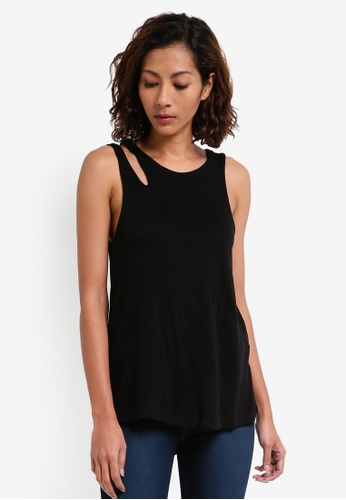 River Island black Cut Out Tank Top 66597AABE73717GS_1