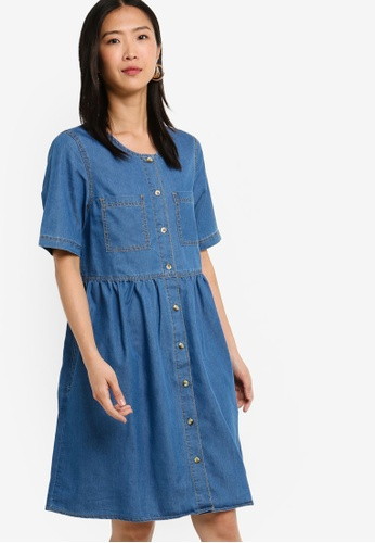 ZALORA BASICS blue Basic Denim Button Down Dress 435AAAA9B7F5CAGS_1