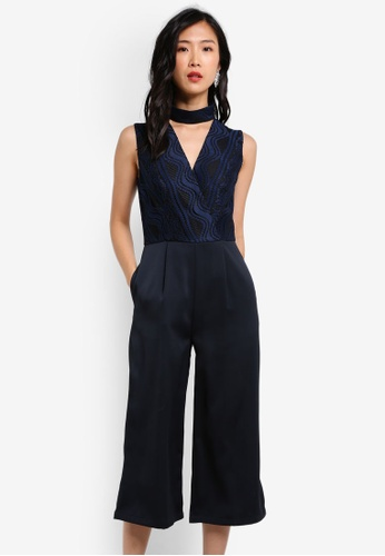 ZALORA navy High Neck Wrap Lace Jumpsuit BAEECZZB6B5BF2GS_1